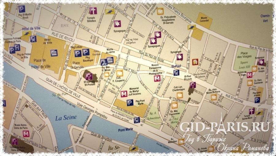 Квартал Маре на карте
