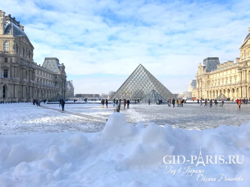 Лувр в снегу